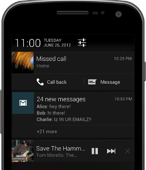 Android Jelly Bean notifications feature