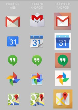 Google icons on web vs Android 2014