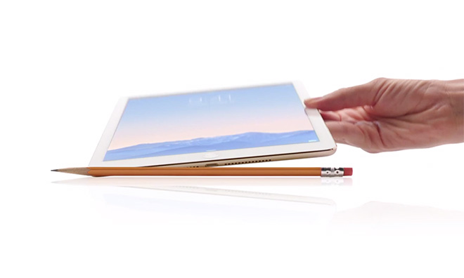 The iPad Air 2 has already been compared to the width of a pencil