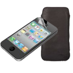 iPhone screen protector and leather case